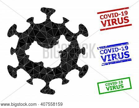 Triangle Chinese Flu Virus Polygonal Symbol Illustration, And Unclean Simple Covid-19 Virus Stamp Se