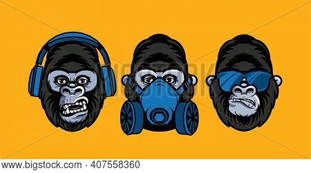 Three Wise Gorillas With Respirator, Glasses, Headphones. Also Called The Three Mystic Apes. Sees No