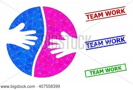 Triangle Cooperation Hands Polygonal Icon Illustration, And Scratched Simple Team Work Stamp Seals.