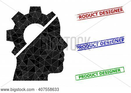Triangle Cyborg Gear Polygonal Icon Illustration, And Textured Simple Product Designer Rubber Seals.