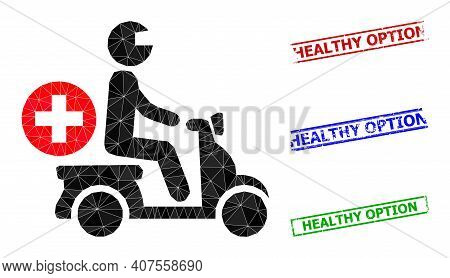 Triangle Doctor Motorbike Polygonal Icon Illustration, And Unclean Simple Healthy Option Stamp Print