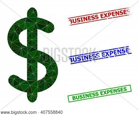 Triangle Dollar Sign Polygonal Icon Illustration, And Distress Simple Business Expenses Watermarks.