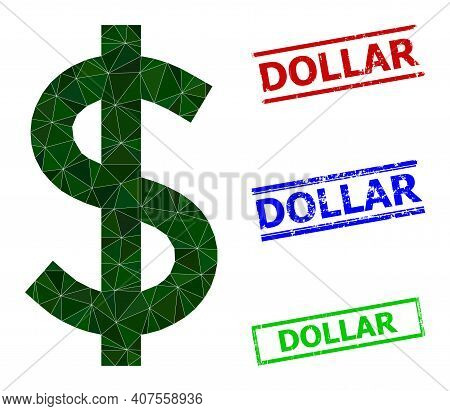 Triangle Dollar Polygonal Icon Illustration, And Scratched Simple Dollar Watermarks. Dollar Icon Is