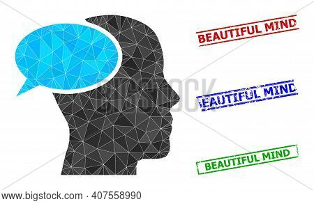 Triangle Dream Cloud Polygonal Icon Illustration, And Distress Simple Beautiful Mind Stamp Seals. Dr