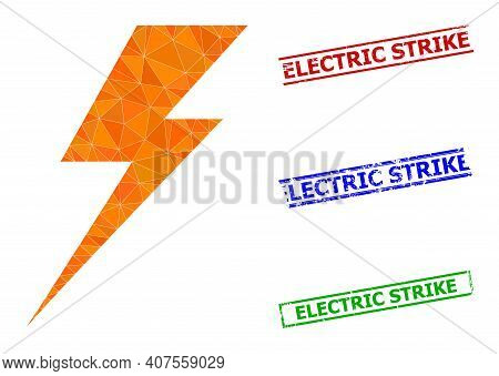 Triangle Electric Strike Polygonal Icon Illustration, And Scratched Simple Electric Strike Rubber Se