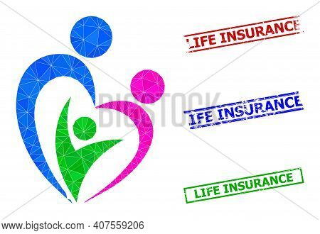 Triangle Familty Care Polygonal Icon Illustration, And Distress Simple Life Insurance Seals. Familty