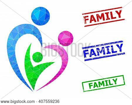 Triangle Family Polygonal Icon Illustration, And Distress Simple Family Seals. Family Icon Is Filled