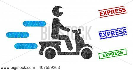 Triangle Fast Motorbike Polygonal 2d Illustration, And Distress Simple Express Stamp Seals. Fast Mot