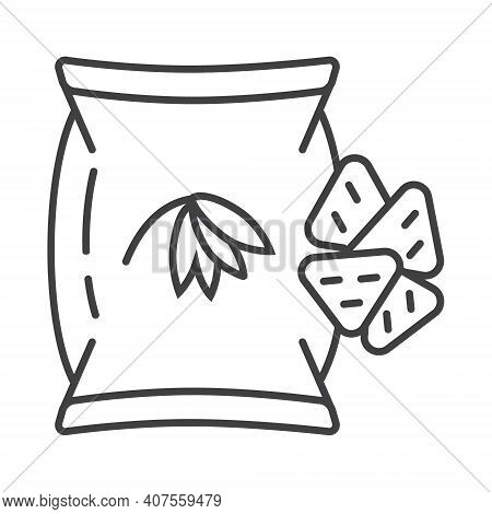 Oatmeal Cookies, Chips Icon In Outline Style. Oatmeal Cereal Cooking And Fast Breakfast Are Shown. P