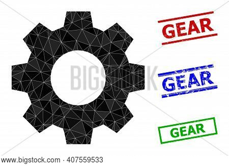 Triangle Gear Polygonal Icon Illustration, And Textured Simple Gear Watermarks. Gear Icon Is Filled