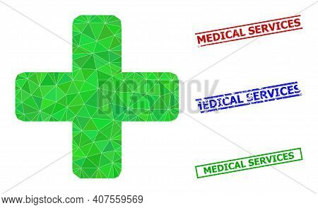 Triangle Green Cross Polygonal Icon Illustration, And Rubber Simple Medical Services Stamp Prints. G