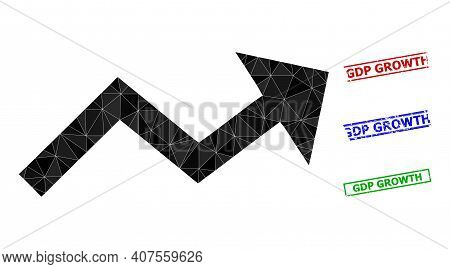 Triangle Growing Trend Arrow Polygonal Icon Illustration, And Rough Simple Gdp Growth Seals. Growing