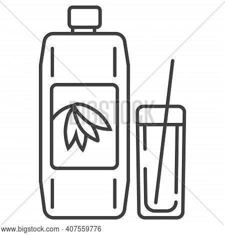 Oatmeal Milk Icon In Outline Style. Porridge In Plastic Container Symbol. Ereal And Fast Breakfast A