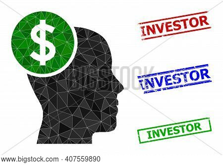 Triangle Head Banking Polygonal Icon Illustration, And Distress Simple Investor Stamp Imitations. He