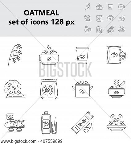 Oatmeal Icons Set Vector In Big And Small Size. Oat, Flour Bag. Cookies, Package Of Milk, Granola Ca