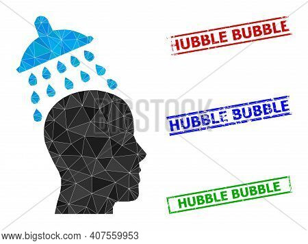 Triangle Head Shower Polygonal Icon Illustration, And Unclean Simple Hubble Bubble Stamp Seals. Head