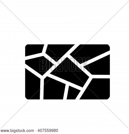 Dryness Icon. Crack In Ground. Broken Rectangular Surface. Shattered Fragments. Abstract Symbol.