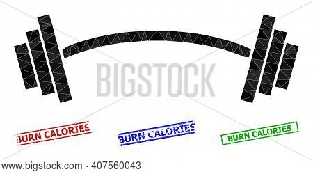 Triangle Heavy Barbell Polygonal 2d Illustration, And Grunge Simple Burn Calories Stamps. Heavy Barb