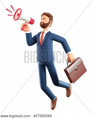 3d Illustration Of Cartoon Flying Man Holding A Speaker. Cute Smiling Businessman With Briefcase Hov