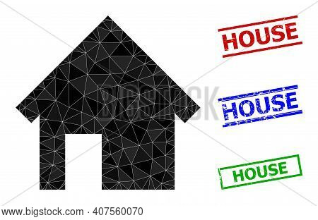 Triangle House Polygonal 2d Illustration, And Scratched Simple House Stamp Seals. House Icon Is Fill