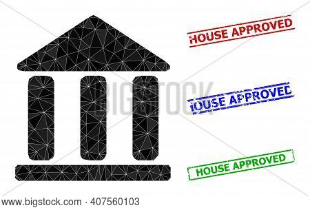 Triangle Library Building Polygonal Icon Illustration, And Grunge Simple House Approved Rubber Seals