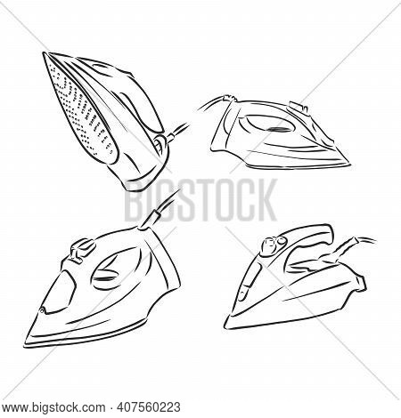 Electric Iron Cartoon Vector And Illustration, Black And White, Hand Drawn, Sketch Style, Isolated O
