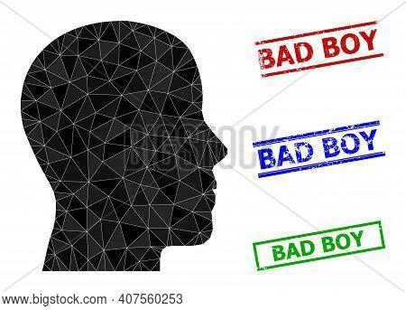 Triangle Man Profile Polygonal Icon Illustration, And Unclean Simple Bad Boy Rubber Seals. Man Profi