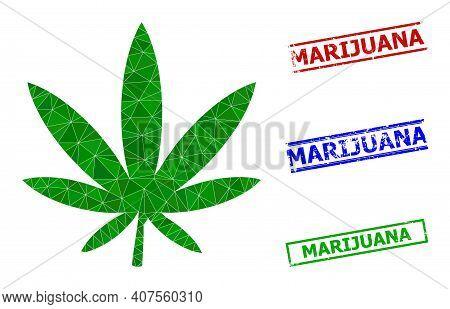 Triangle Marijuana Polygonal Symbol Illustration, And Distress Simple Marijuana Stamp Seals. Marijua