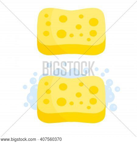 Sponge With Foam. Yellow Tool For Cleaning. Detergent With Soap. Set Of Kitchen And Bathroom Element