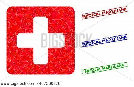 Triangle Medical Box Polygonal Icon Illustration, And Unclean Simple Medical Marijuana Seals. Medica