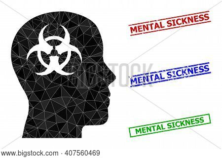 Triangle Mental Virus Polygonal Icon Illustration, And Unclean Simple Mental Sickness Stamp Seals. M