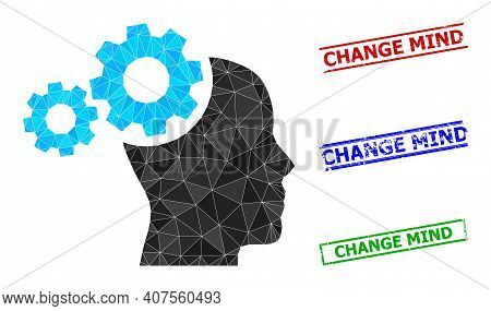 Triangle Mind Gears Polygonal Icon Illustration, And Grunge Simple Change Mind Stamp Seals. Mind Gea
