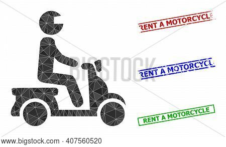 Triangle Motorbike Driver Polygonal Icon Illustration, And Scratched Simple Rent A Motorcycle Stamps