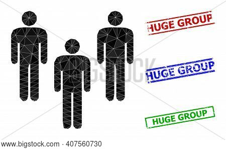 Triangle People Crowd Polygonal Icon Illustration, And Unclean Simple Huge Group Stamp Imitations. P