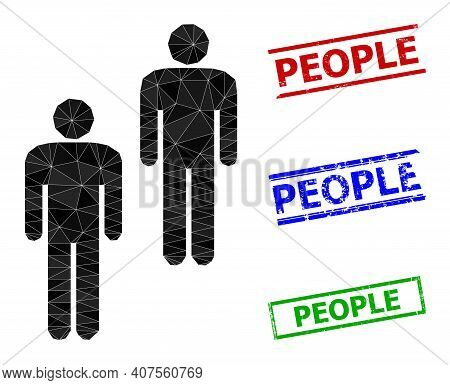 Triangle People Polygonal Icon Illustration, And Unclean Simple People Seals. People Icon Is Filled