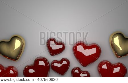 Valentines Day Red Sweet Balloon Hearts. 3d Illustration.