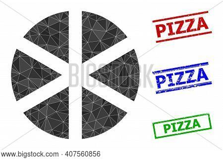 Triangle Pizza Polygonal Icon Illustration, And Scratched Simple Pizza Stamp Seals. Pizza Icon Is Fi
