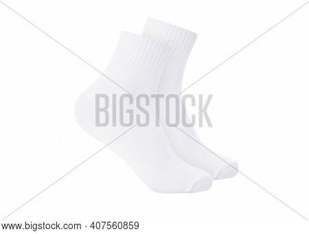 White Color Socks Mockup For Design Isolated On White Background. Set Of Short Socks For Sports As M