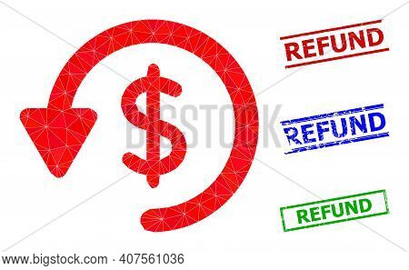 Triangle Refund Polygonal Icon Illustration, And Rough Simple Refund Watermarks. Refund Icon Is Fill