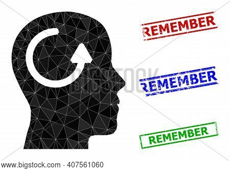 Triangle Remember Polygonal Icon Illustration, And Textured Simple Remember Stamp Prints. Remember I