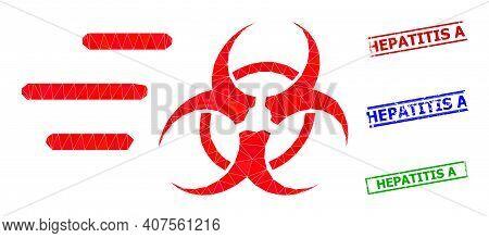 Triangle Rush Biohazard Polygonal Icon Illustration, And Unclean Simple Hepatitis A Seals. Rush Bioh