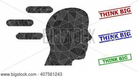 Triangle Rush Mind Polygonal Icon Illustration, And Rubber Simple Think Big Watermarks. Rush Mind Ic