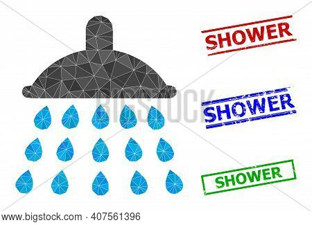Triangle Shower Polygonal Icon Illustration, And Grunge Simple Shower Stamps. Shower Icon Is Filled