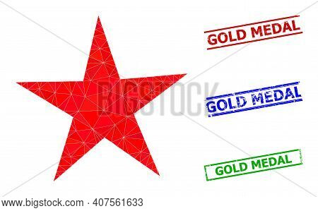 Triangle Star Polygonal Icon Illustration, And Grunge Simple Gold Medal Rubber Seals. Star Icon Is F