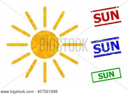 Triangle Sun Polygonal Icon Illustration, And Rubber Simple Sun Stamps. Sun Icon Is Filled With Tria