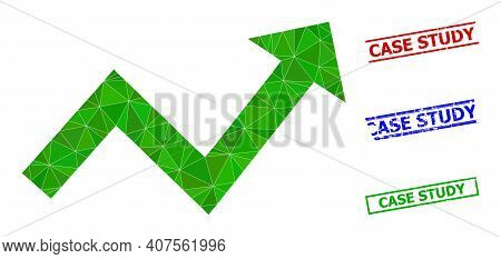 Triangle Trend Up Arrow Polygonal Icon Illustration, And Scratched Simple Case Study Watermarks. Tre
