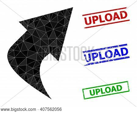 Triangle Upload Arrow Polygonal Icon Illustration, And Rubber Simple Upload Rubber Seals. Upload Arr