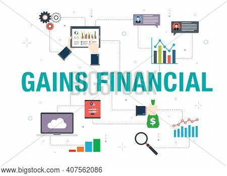Gains Financial Concept With Icon Design In Vector On White Background. Vector Icons Of Laptop, Repo