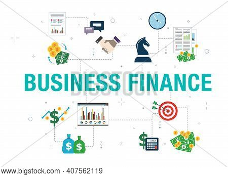 Business Finance Concept With Icon Design In Vector On White Background. Vector Icons Of Handshake,