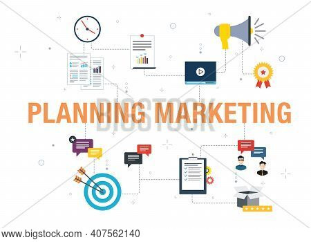 Planning Marketing Concept With Icon Design In Vector On White Background. Vector Icons Of Megaphone